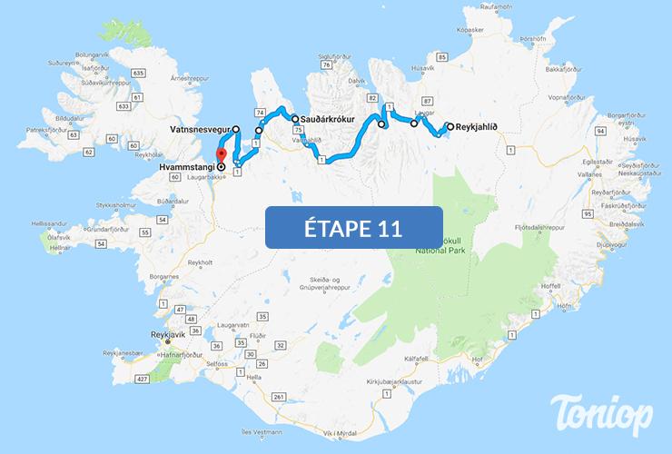 etape 11, roadtrip islande,Godafoss Waterfall, visite d'Akureyri, Sauðárkrókur, Vatnes, Hvammstangi