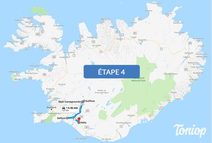 etape 4, roadtrip islande, gullfoss falls, secret lagoon, hella, cercle d'or