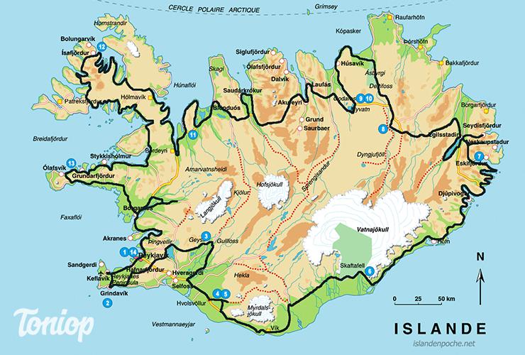roadtrip, islande, 2 semaines, 15 jours, trajet, étapes, carte